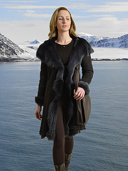 Higgs Leathers SAVE £250!  Alanas (ladies hooded Toscana Shearling coat)
