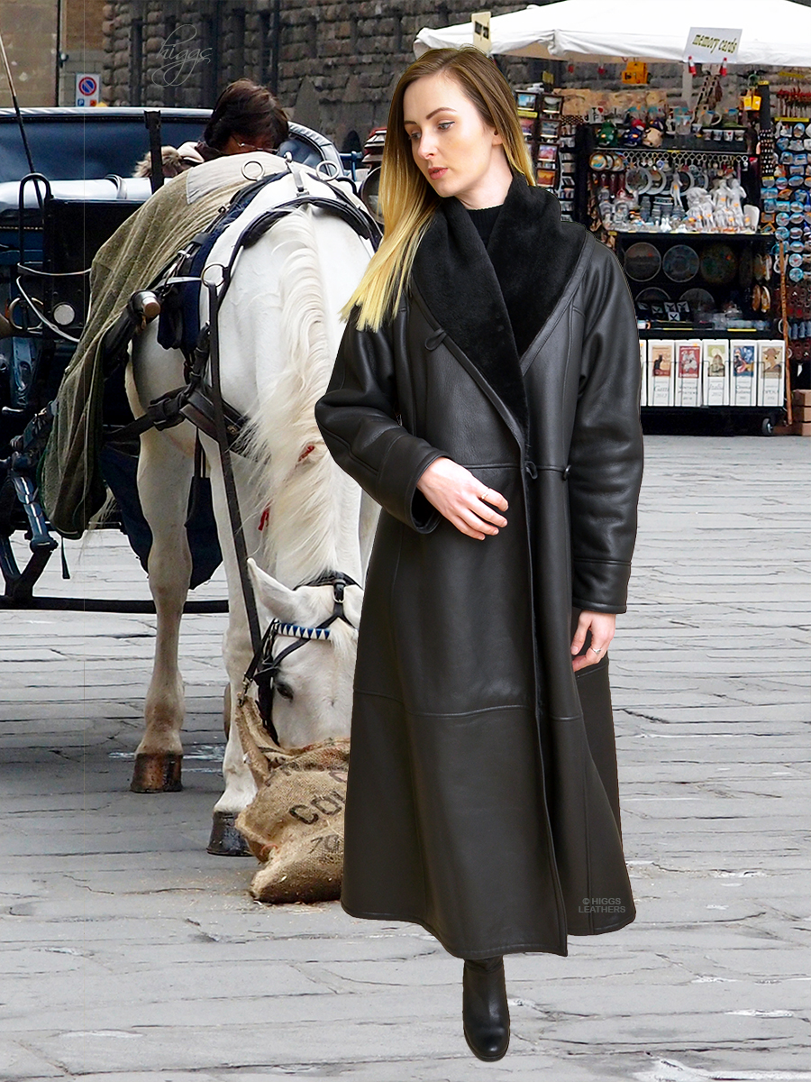 Higgs Leathers {36' TO 52' bust SAVE £400!}  Alicia (Swingback Black Shearling coat)