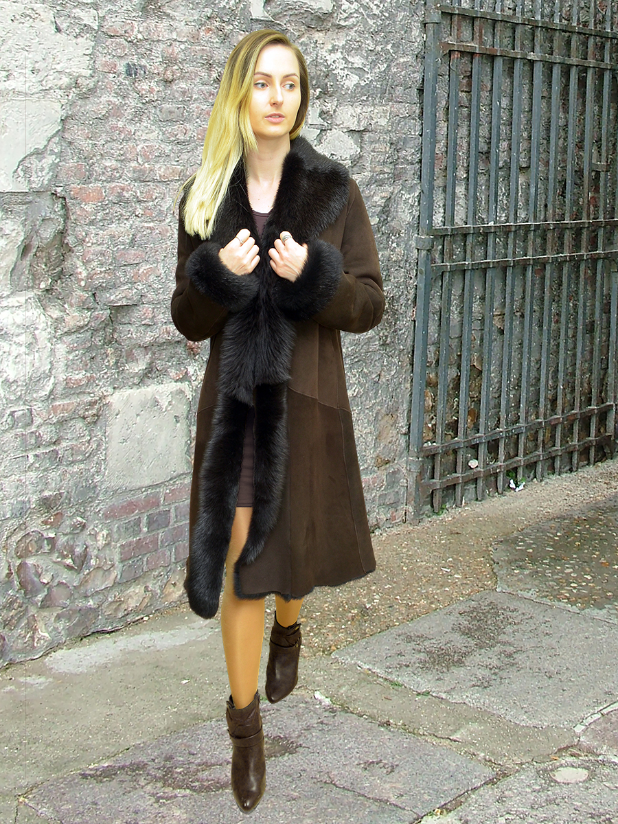 Higgs Leathers {42' bust SAVE £400!}  Anastasia (Toscana trimmed Shearling coat)