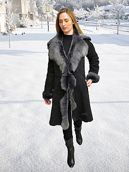 Higgs Leathers One Only Save £325!  Angela (Charcoal Snowtip Shearling coat)