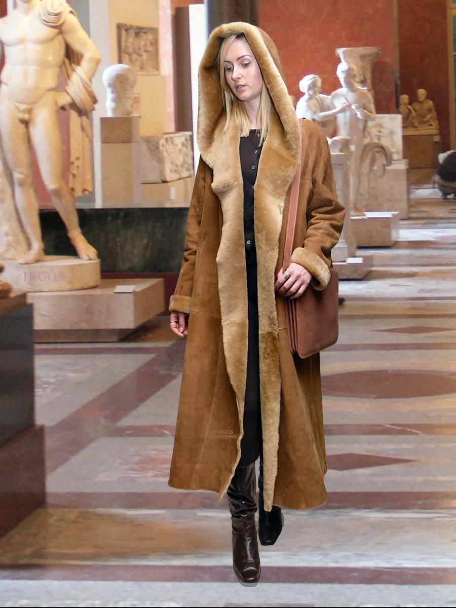 fc5bb05f504 Higgs Leathers Benitas (ladies hooded swingback Shearling coat)