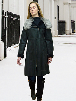 Higgs Leathers {HALF PRICE SAVE £500!}  Callia (fitted Black Shearling coat)