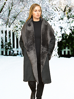 Higgs Leathers Caroline (ladies Charcoal shade Merino Shearling coat)