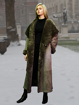 Higgs Leathers {32' to 48' bust}  Caroline (ladies Merino Shearling long coat)