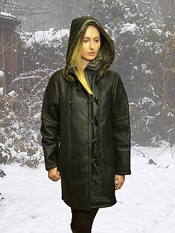 Higgs Leathers SOLD!  Davina (womens hooded Shearling coat)
