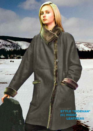 Higgs Leathers {HALF PRICE SAVE £550!}  Siobhan (ladies Merino Shearling 7/8th. coat)
