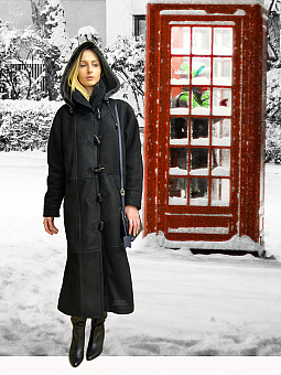 Higgs Leathers SAVE £225!  Debbie (Ladies Black Merino Shearling duffle coat)