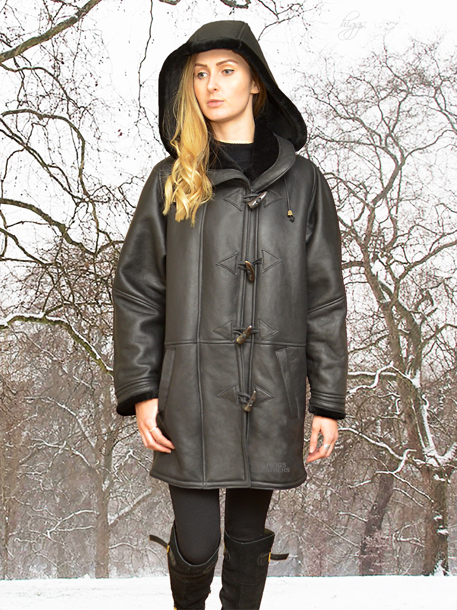 Higgs Leathers {34' to 48' bust}   Debbie (ladies Hooded Merino Shearling duffle coat)