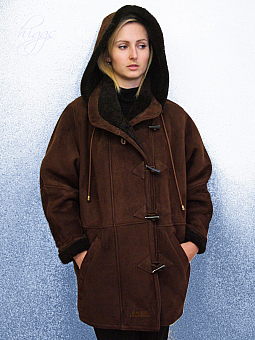 Higgs Leathers Debbie (ladies Brown Merino Shearling duffle coat)