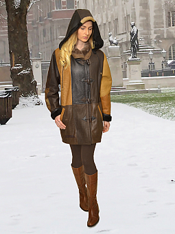 Higgs Leathers ONE ONLY!  Debbie (ladies Hooded Shearling Duffle coat)
