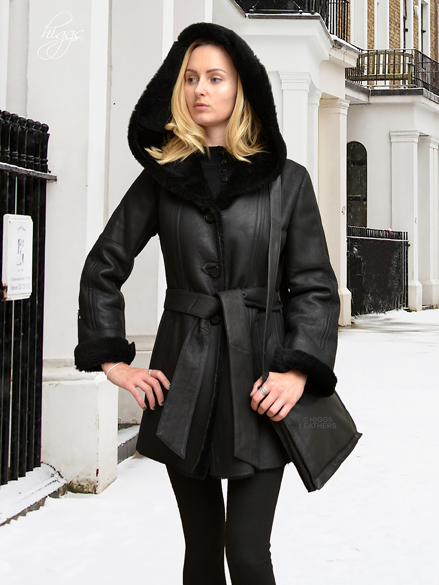 Higgs Leathers   {LAST ONE SAVE £200!}   Hildred (ladies hooded Black Shearling coat) Warm, elegant and practical!