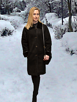 Higgs Leathers {32' to 34' bust HALF PRICE!}  Katie (ladies Black Shearling coat)