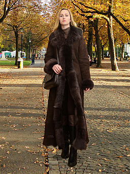 Higgs Leathers Natasha  (ladies Brown Toscana Shearling coat)