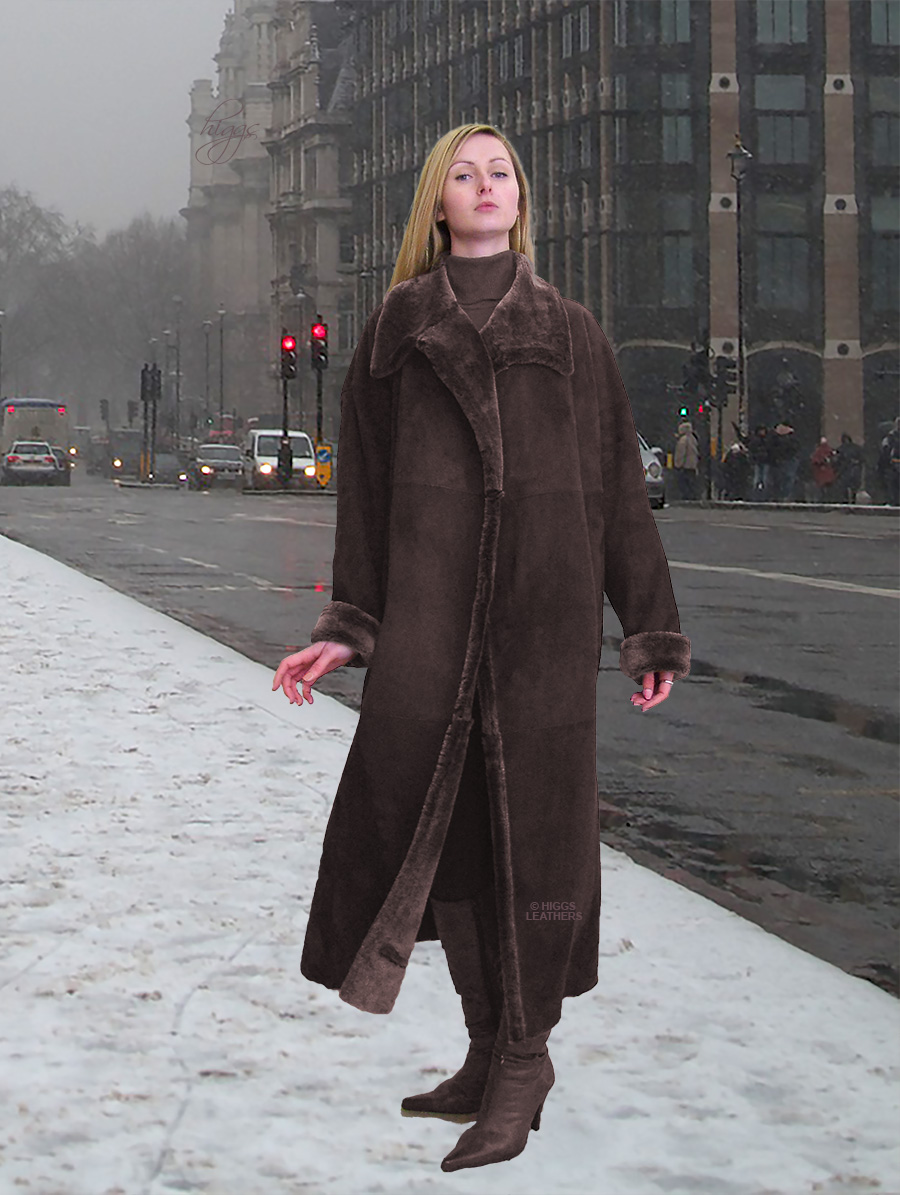 Higgs Leathers Shevetta (ladies Brown Merino Shearling coat) So light - So soft - So warm!