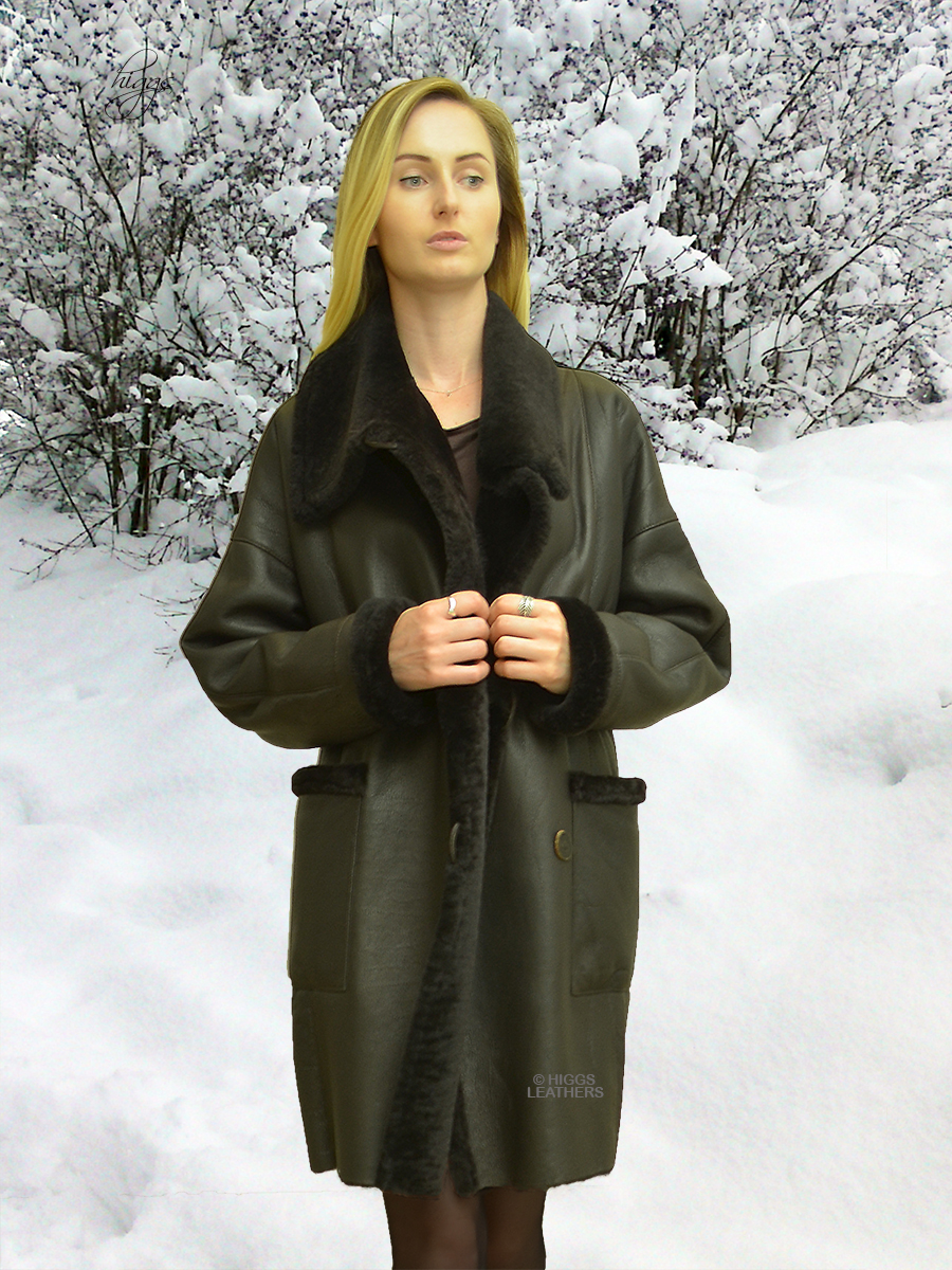 Higgs Leathers {36' to 48' bust}  Siobhan (ladies Merino Shearling 7/8th. coat)