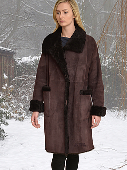 Higgs Leathers {38' to 40' bust HALF PRICE!}  Siobhan (Brown Shearling coat) From our wonderful selections of women's Shearling coats!