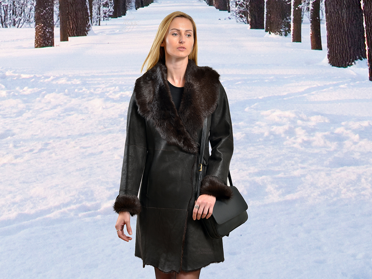 Higgs Leathers {LAST ONE HALF PRICE!}  Tatianya (Toscana trim ladies Shearling coat)