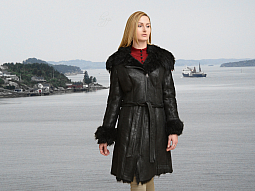 Higgs Leathers ALL SOLD!  Uniqua (ladies Black Toscana Shearling coat)