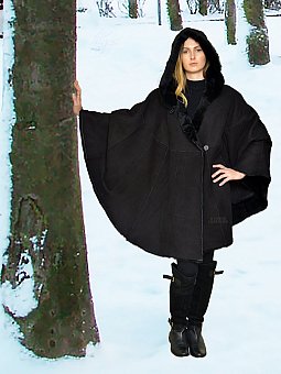 Higgs Leathers ALL SIZES!  Zadak (ladies hooded Designer Shearling cloak)
