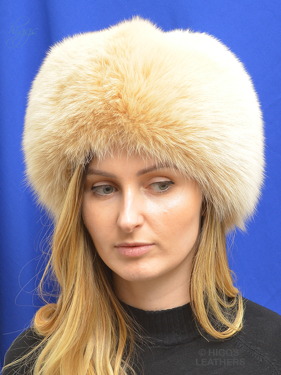 Higgs Leathers {ONE ONLY SAVE £100!}  Coral (ladies Pale Beige Fox Cossack hat)