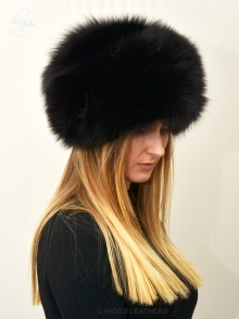 Higgs Leathers ONE ONLY SAVE £100!  Coralette (ladies Black dyed Fox Cossack hat)