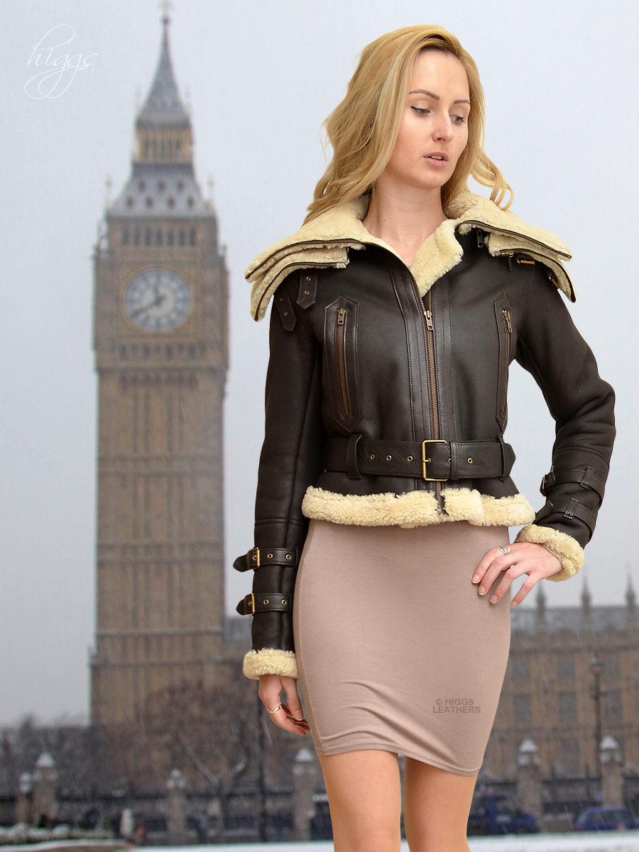 Higgs Leathers {34'  bust HALF PRICE!}   Alice Designer style Sheepskin flying jacket