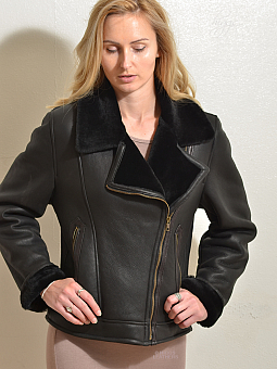 Higgs Leathers NEW PICTURE!  Amelia (ladies Black Merino Shearling flying jacket)