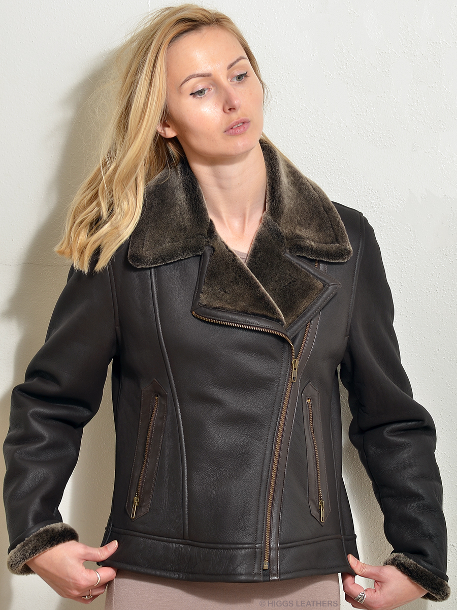 Higgs Leathers {32' to 40' bust}   Amelia (Nappa Merino Shearling flying jacket)