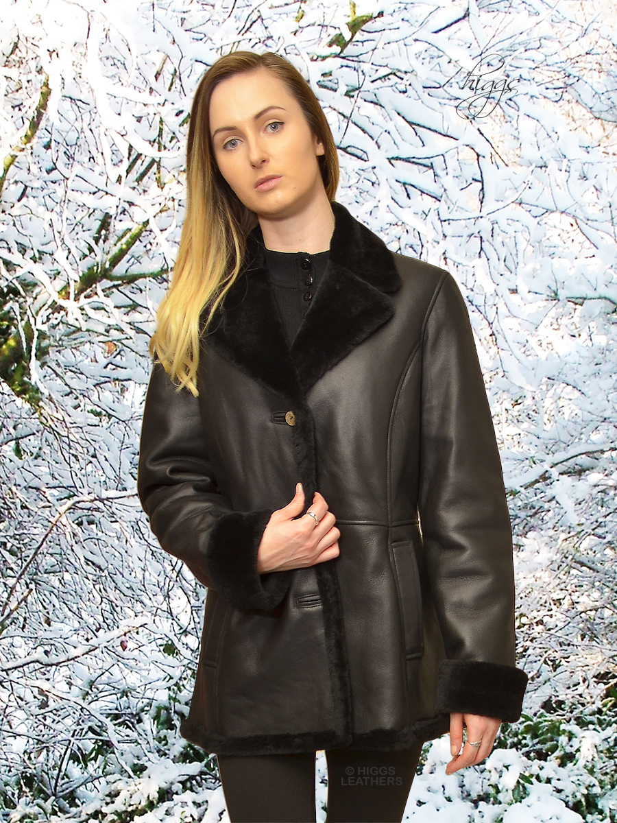 Higgs Leathers {32' to 38' bust}  Annie (women's Black Nappa Merino Shearling Jacket)