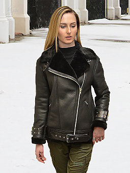 Higgs Leathers NEW!  Avro (ladies Designer Black Shearling flying jacket)