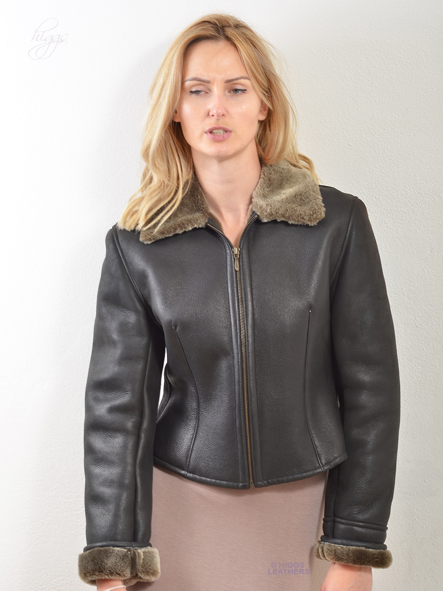 Higgs Leathers {ONE ONLY SAVE £200!}  Binkie (ladies Merino Shearling Biker jacket) ONE ONLY - SIZE 32' BUST