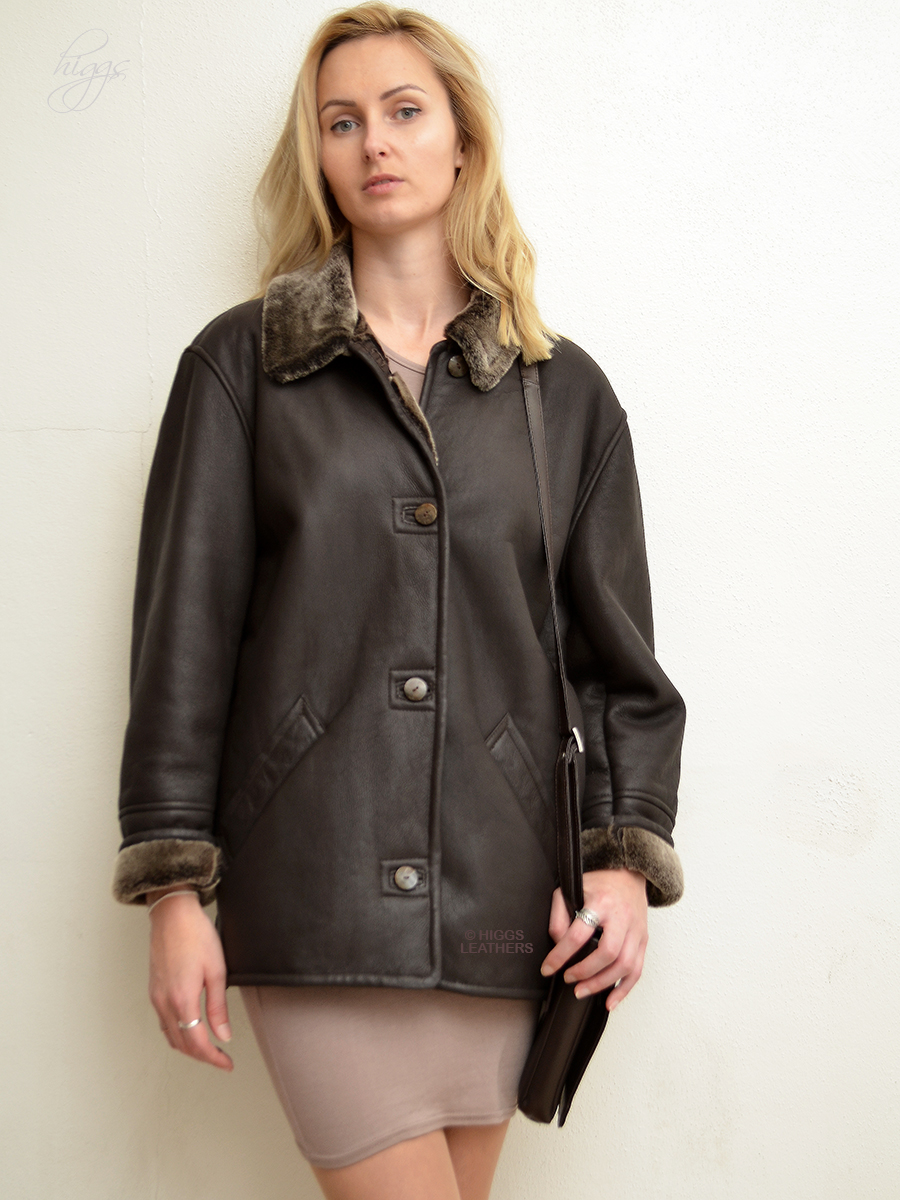 Higgs Leathers {34' to 46' bust} Boxy (ladies Merino Shearling long jacket) Casually Classic Shearling Jacket!