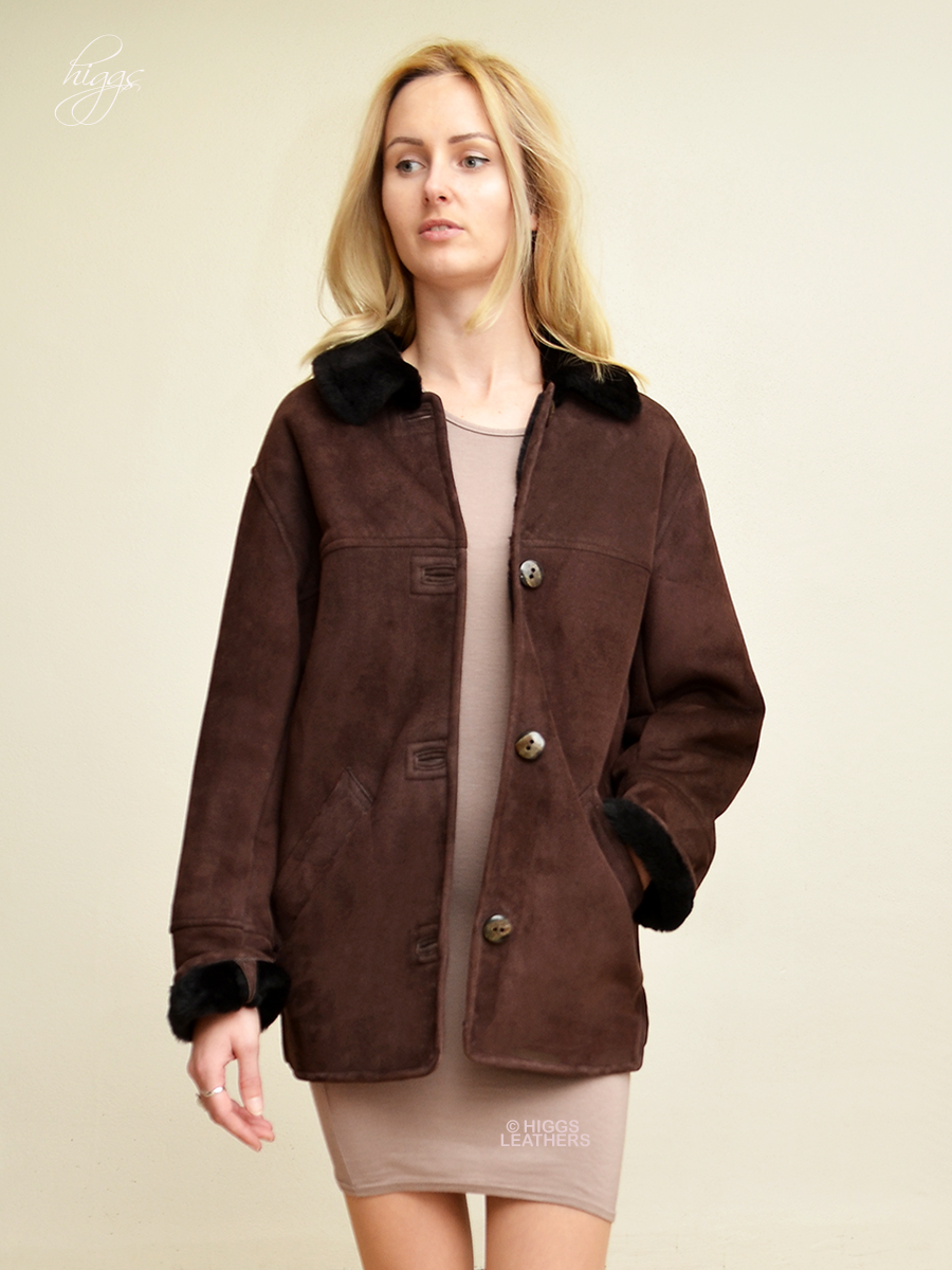 Higgs Leathers {THREE ONLY HALF PRICE!}  Boxy (Dark Brown Merino Shearling jacket) Casually classic Shearling jacket!