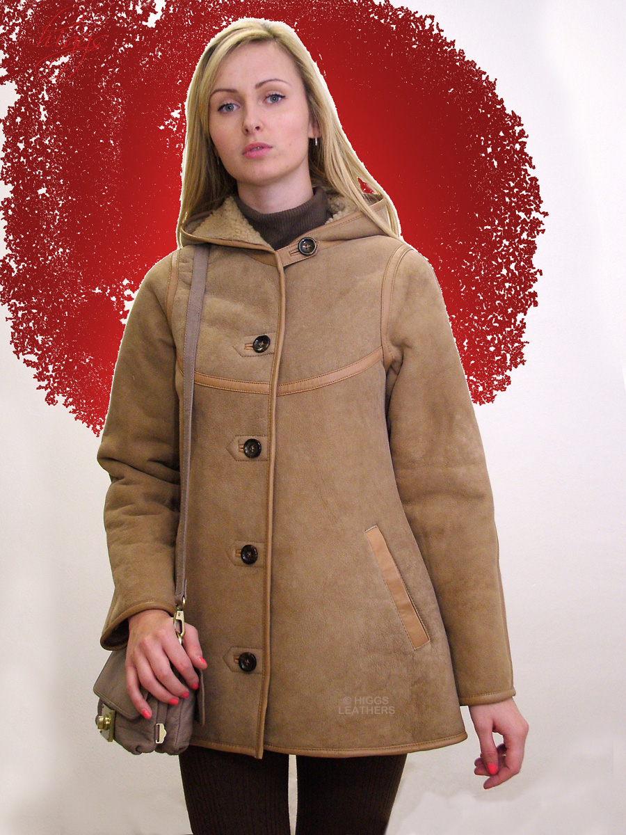 Higgs Leathers {UNDER HALF PRICE!}  Celia (ladies Beige Hooded Sheepskin jacket) LAST ONE - SIZE EXTRA SMALL 32' BUST!