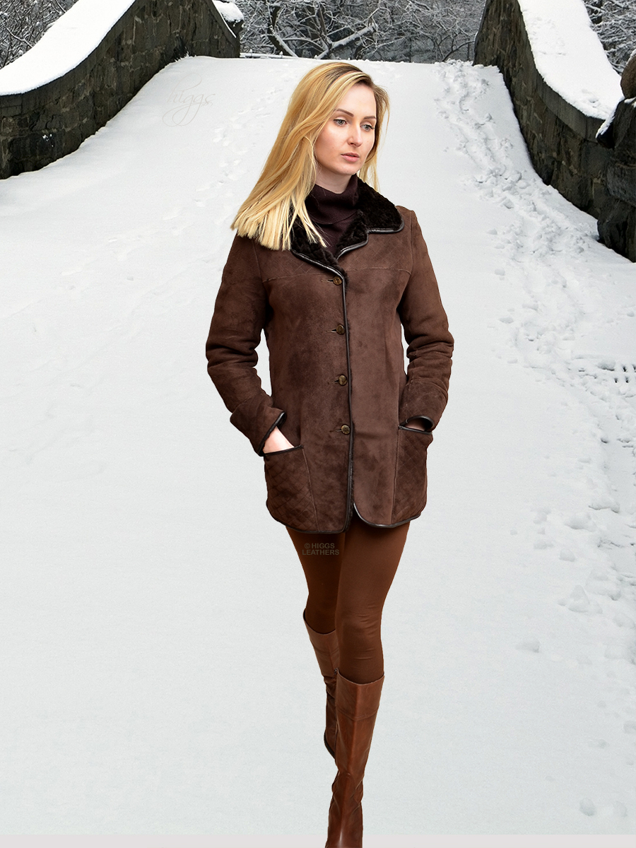Higgs Leathers {32' bust HALF PRICE!}  Cindy (ladies Shearling stroller jacket)