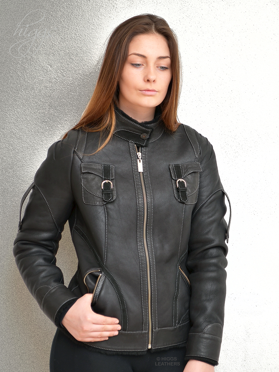 Higgs Leathers {32' BUST HALF PRICE!}  Dappy (ladies Black Shearling Biker jacket)