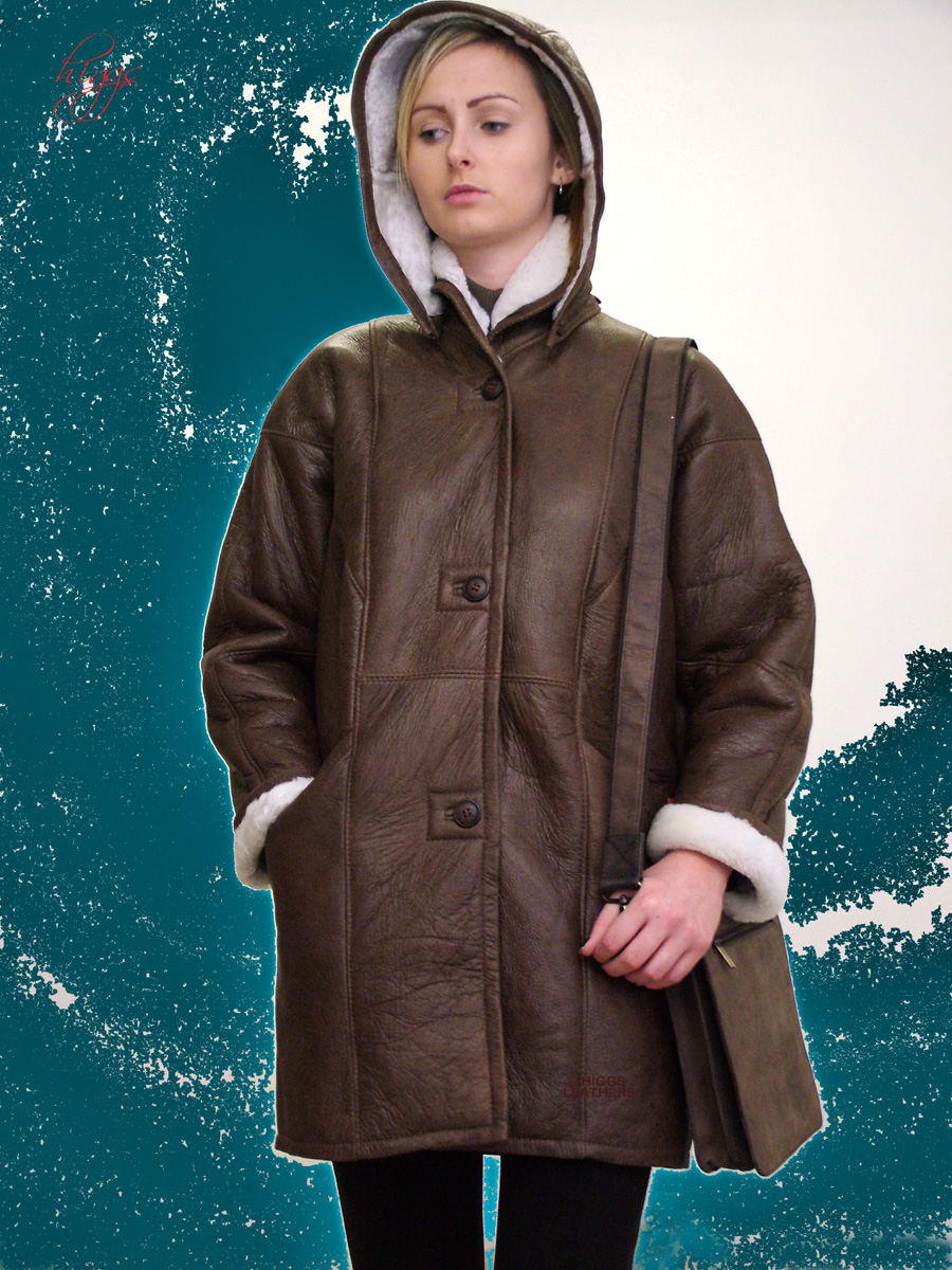 Higgs Leathers {32' and 34' bust HALF PRICE!}  Dulcia (ladies hooded Sheepskin 3/4)