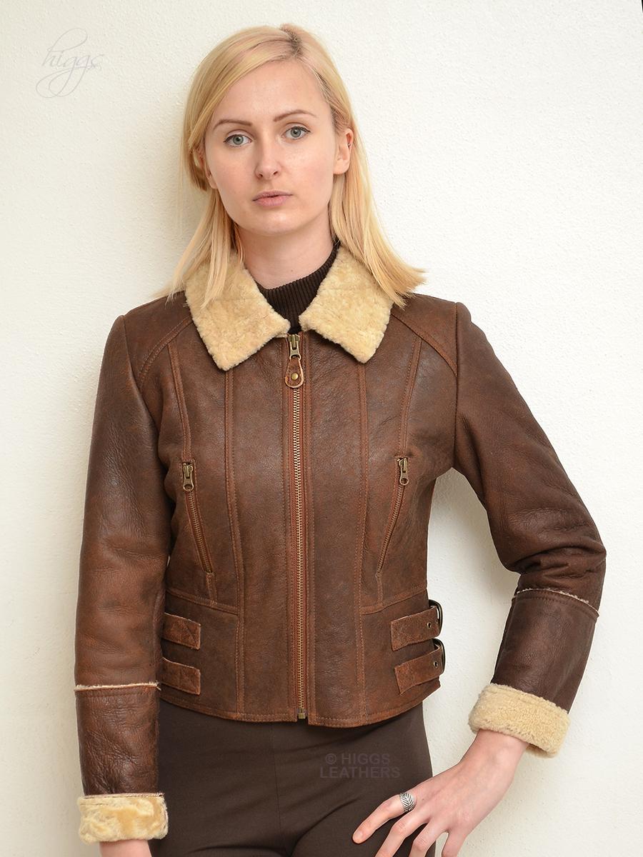 ad1ce120d972 Higgs Leathers | Buy Elsie (cropped Sheepskin Flying jacket) online ...