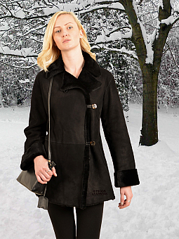 Higgs Leathers NEW PICTURE!  Juliet (ladies black Merino Shearling jacket)