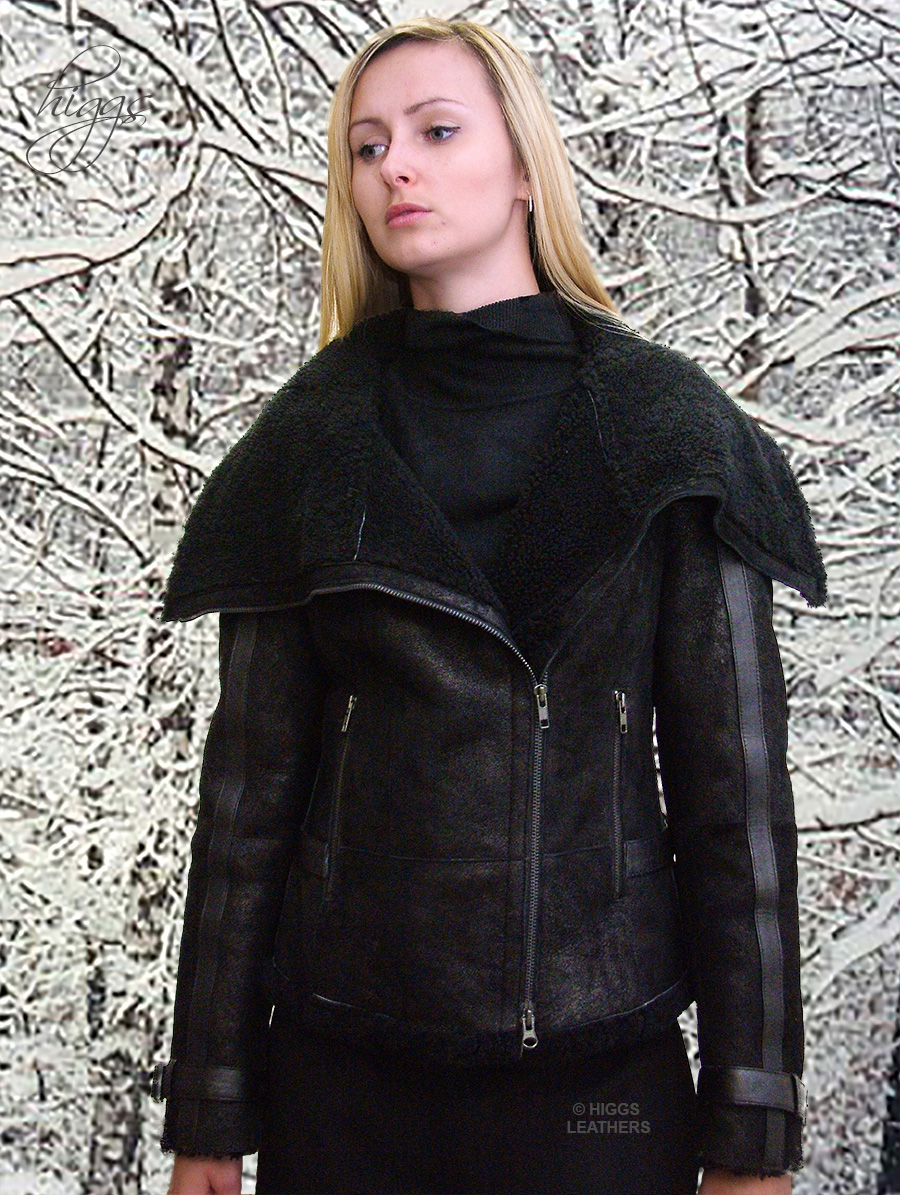 Higgs Leathers {32' bust HALF PRICE!}  Laska (ladies Black Shearling Flying jacket)  OUTSTANDING DESIGN!
