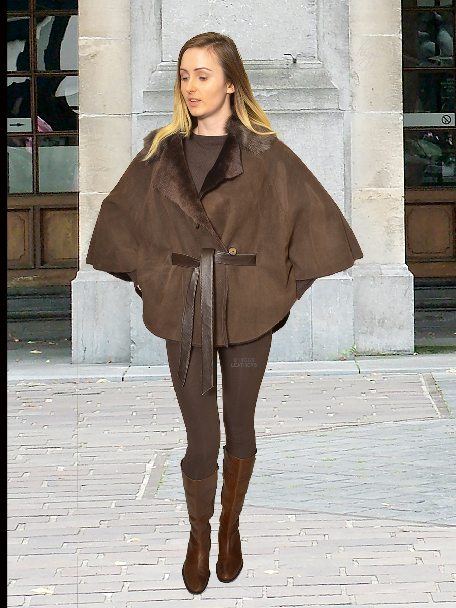 Higgs Leathers {32' to 48' bust HALF PRICE!}  Marianne (Designer style Shearling cape)