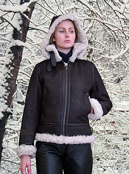 Higgs Leathers LAST ONE HALF PRICE!  Pilota (hooded Sheepskin Flying jacket)