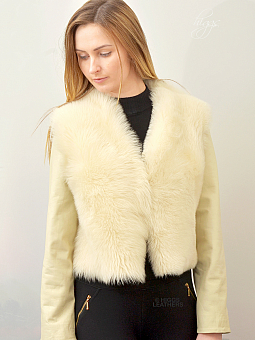 Higgs Leathers ONE ONLY SAVE £100!  Suzette (Champagne Toscana Shearling jacket)