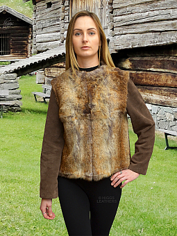 Higgs Leathers ONE ONLY SAVE £100!  Suzette (Natural Rabbit and Suede jacket)