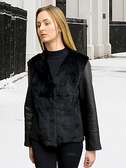 Higgs Leathers ONE ONLY SAVE £100!  Suzette (Black Sheared Rabbit jacket)