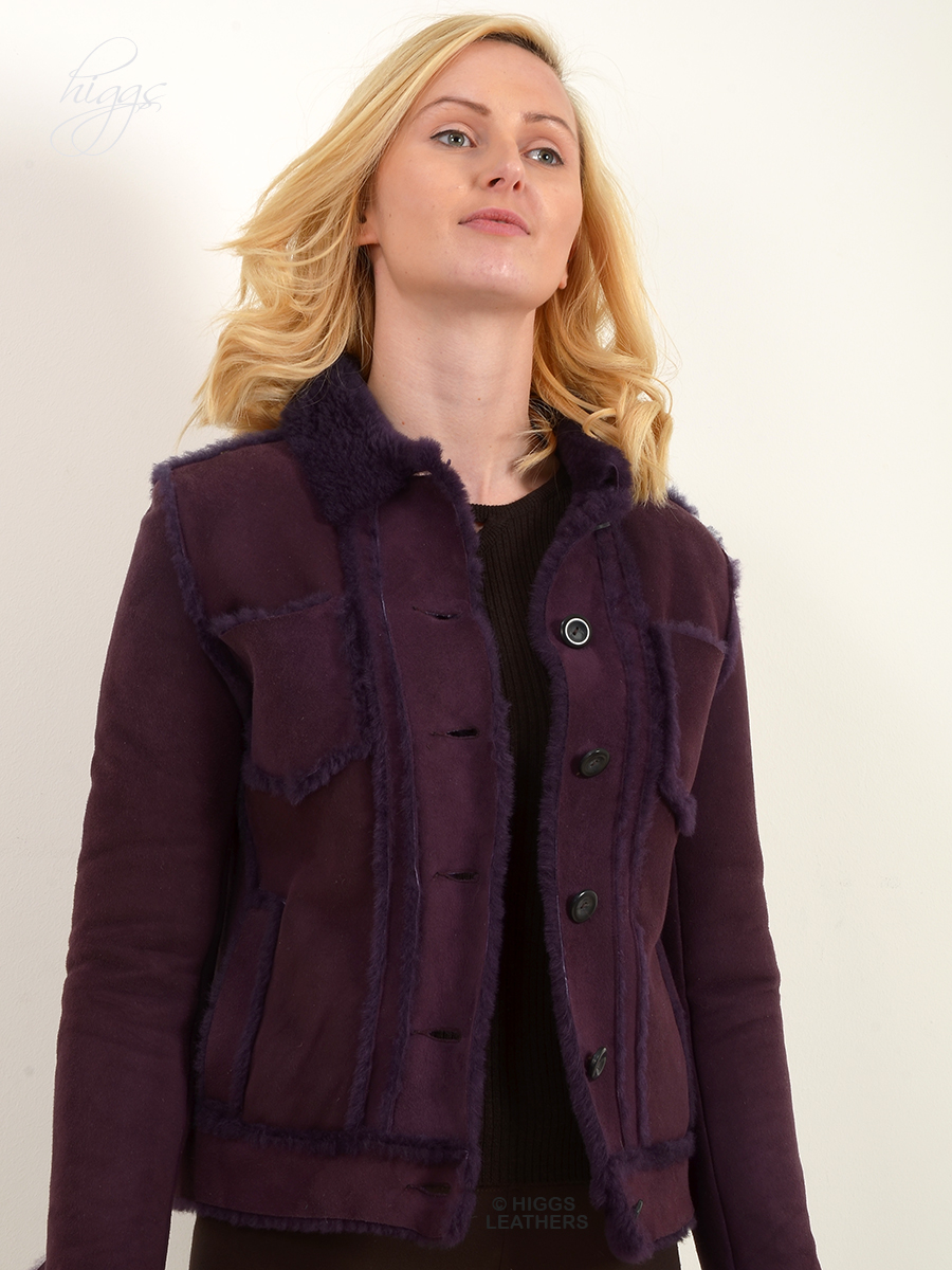 Higgs Leathers {30' to 32' bust UNDER HALF PRICE!}  Yaslin (Purple Shearling jacket) ONE ONLY - EXTRA EXTRA SMALL!