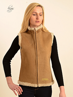 Higgs Leathers SOLD! SAVE £100!  Becca (ladies Beige Shearling gilet)