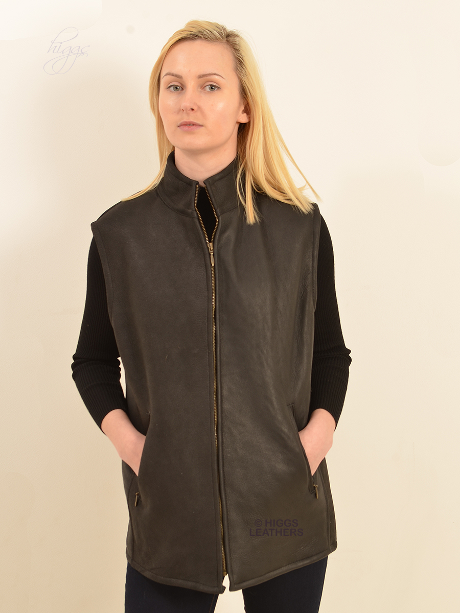 Higgs Leathers {SOLD! ONE ONLY SAVE £100!}  Bedford (nappa Sheepskin body warmer)
