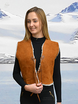 Higgs Leathers ONE ONLY SAVE £80!  Gabbi (ladies Tan/White Merino Shearling gilet)