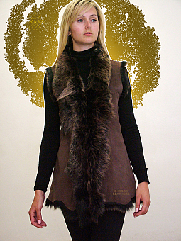 Higgs Leathers LAST FEW!  Gillian (ladies long Toscana Shearling gilet)